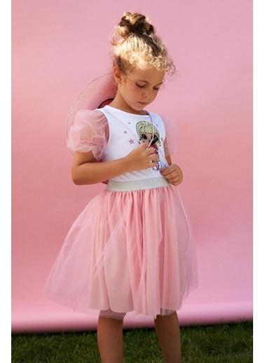 DeFacto Kız Çocuk LOL Lisanslı Balon Kol Elbise Beyaz